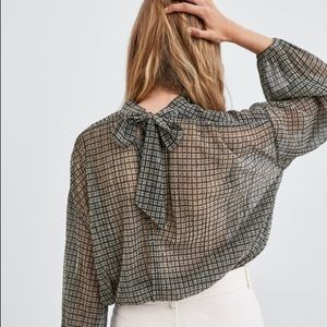 zara shiny plaid top
